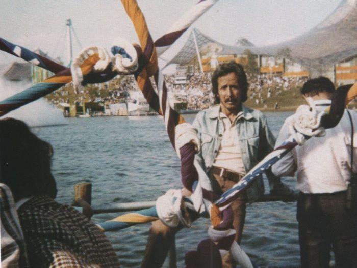 En Munich, 1972. Armando la instalación de El gran quipu de las naciones